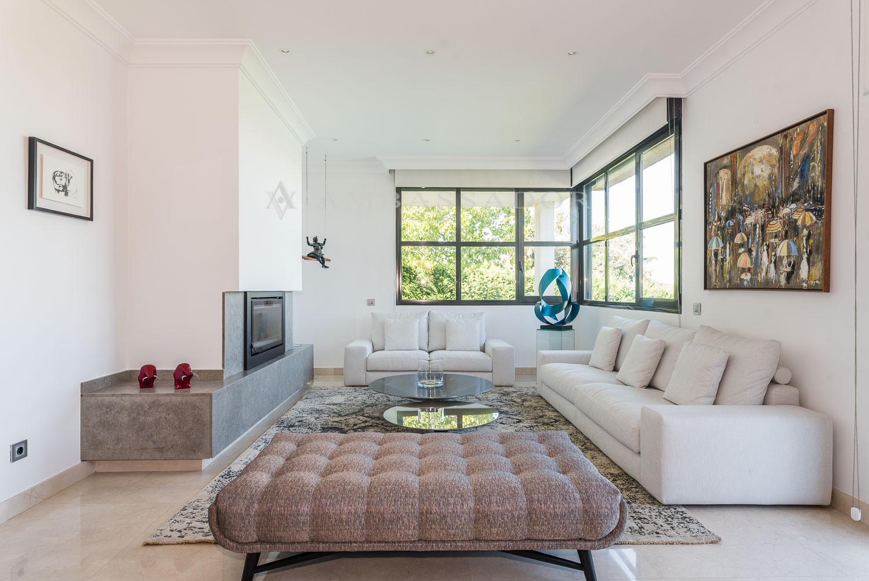 Salón en varios ambientes con chimenea y salida a una terraza sobre el jardín.